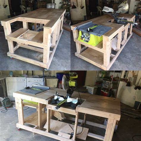 table saw workbench woodworking plans quick and easy mobile workstation with table saw and miter