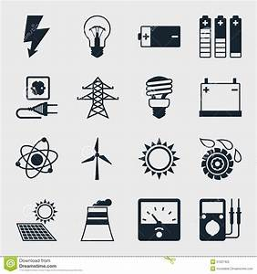 Set Of Industry Power Icons In Flat Design Style Stock ...
