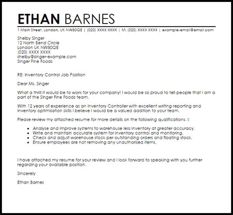 Inventory Cover Letter by Inventory Controller Cover Letter Sle Livecareer