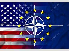 Waving Nato, EU and USA Flag — Stock Photo © PromesaStudio