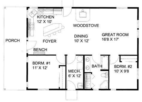 2 Beds 1 Baths 1200 Sq/ft Plan