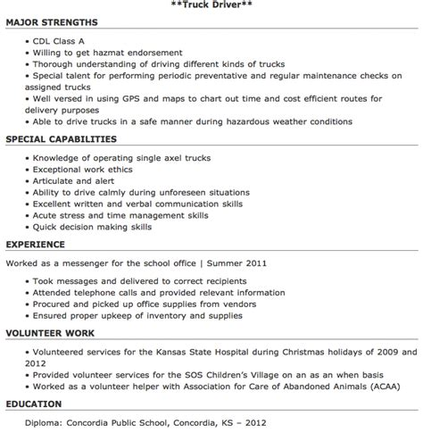 Resume Truck Driver Position by Pin By Ririn Nazza On Free Resume Sle Free Resume