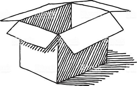 open empty cardboard box drawing stock vector art