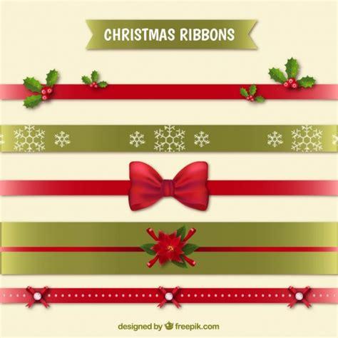 several decorative christmas ribbons vector free download