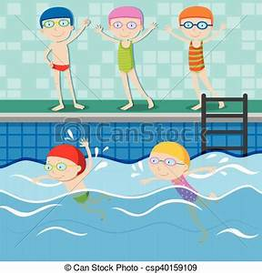 People swimming in the swimming pool illustration vector ...