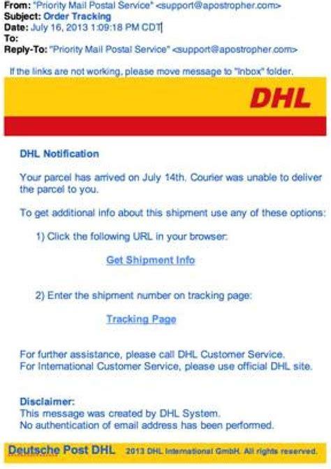 dhl scam letter