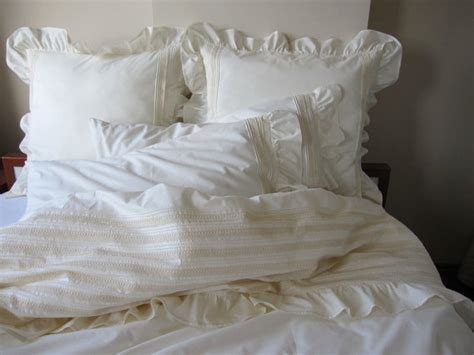 ivory shabby chic bedding pintuck duvet cover ruffle bedding full queen king lace trim