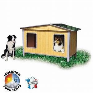 Niche Grand Chien Xxl : niche bois confort duo double pan pour chien niche bois ~ Dailycaller-alerts.com Idées de Décoration