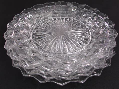 Fostoria American Dinner Plates Set of 4 Nine Inch Glass