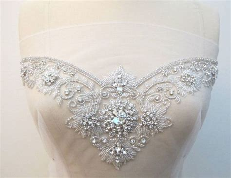 Crystal Rhinestone Applique For Sweetheart Neckline Bridal