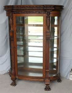 antique oak curio china cabinet carved ladies mirrored