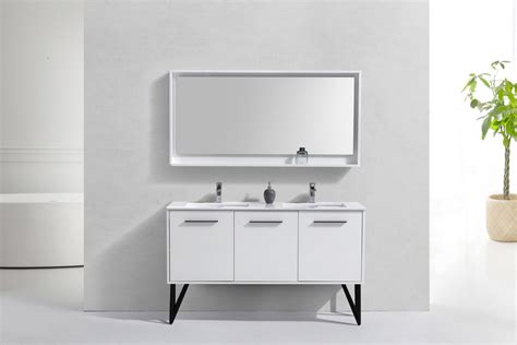 60 Inch High Gloss White Double Sink Bathroom Vanity With
