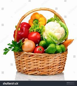 Fresh Vegetables Basket Isolated On White Stock Photo ...