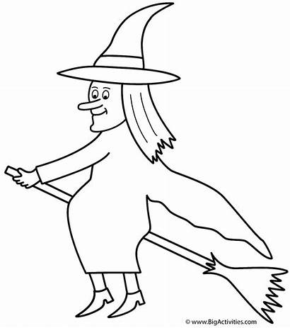 Witch Coloring Witches Broom Halloween Pages Colouring