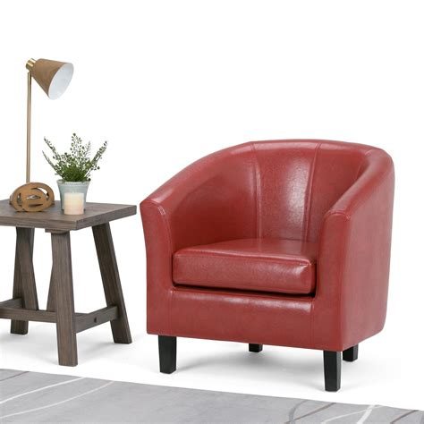 Tub Chair by Simpli Home Faux Leather Accent Tub