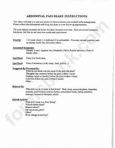 Abdominal Pain Diary Instructions And Template Printable