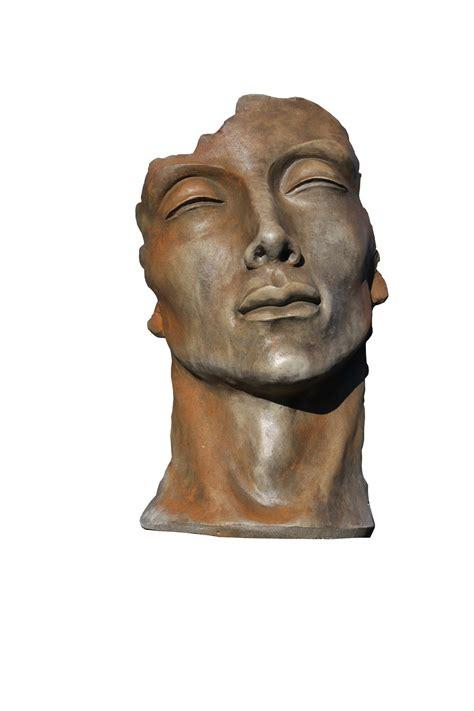skulptur gesicht mann klein rosteffekt vollwaren