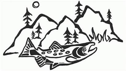 Salmon Drawing Patagonia Run Line Atlantic Getdrawings
