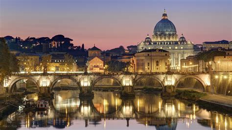 full hd wallpaper rome tiber reflection st peters basilica