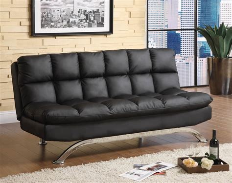 Black Leather Futon Sofa Bed Comfy Pillow Top