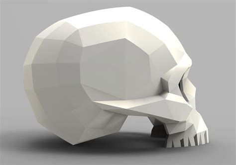 faceted skull  model  printable stl cgtradercom