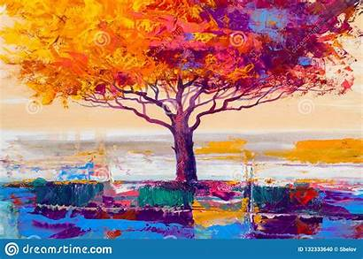 Background Painting Artistic Oil Tree Landscape Colorful