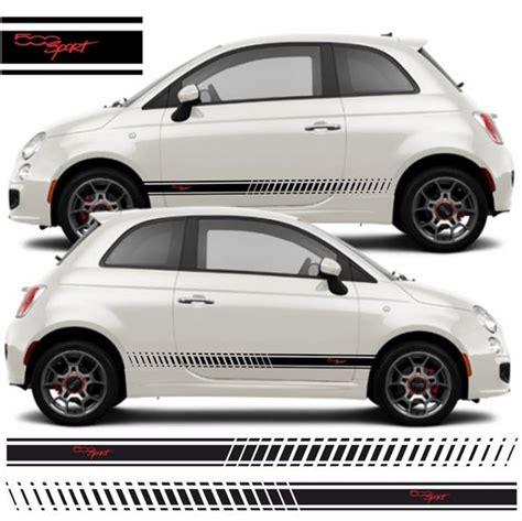 Fiat 500 Decals by Zen Graphics Fiat 500 Sport Side Stripes Graphics