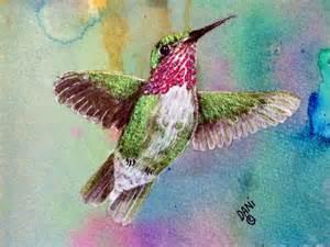 Hummingbird Painted On Feathers