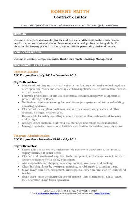 Janitor Resume by Janitor Resume Sles Qwikresume