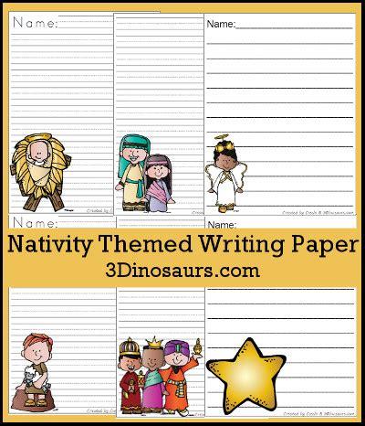 dinosaurs nativity themed writing paper