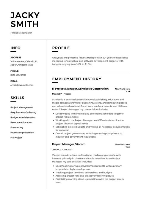 It Manager Resume Exles by 12 Project Manager Resume Sle S 2018 Free Downloads