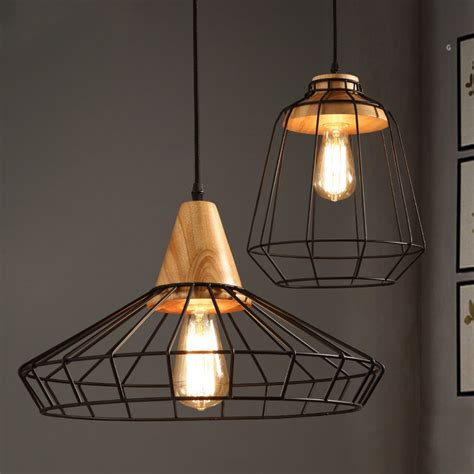 industrial loft black metal cage single light wood