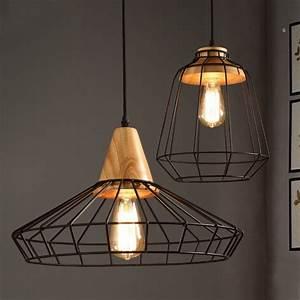 Industrial loft black metal cage single light wood art