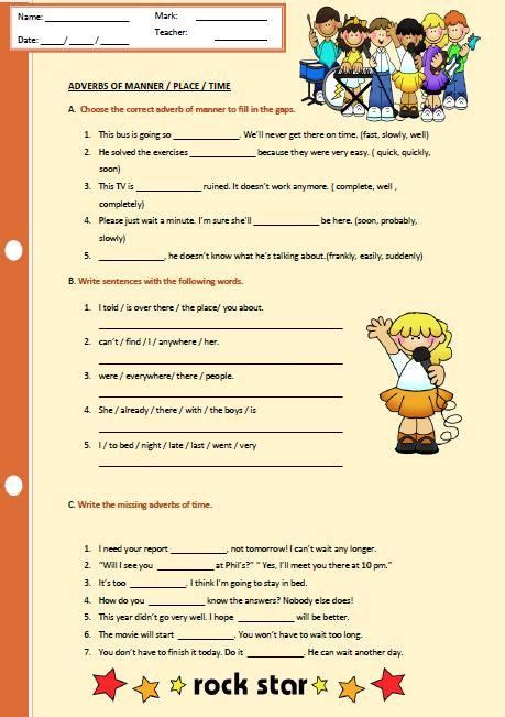 adverbs  manner place  time worksheet time