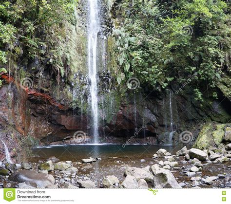 25 Fontes Waterfall In Madeira Portugal Stock Photo