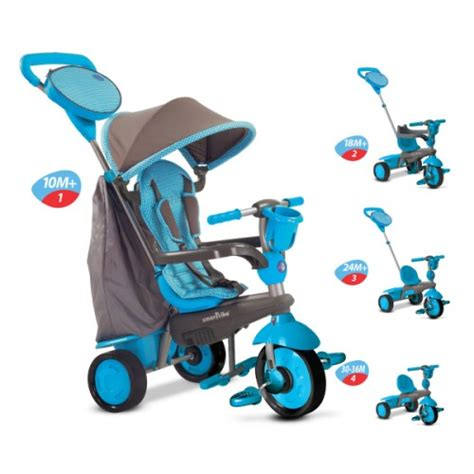 siege bebe avant tricycle evolutif swing bleu smart trike pour enfant de 1