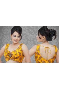 yellow saree blouse  brown flower art    complete attire  shape    worn