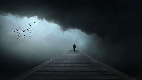 dark  loneliness sad birds clouds wallpapers hd