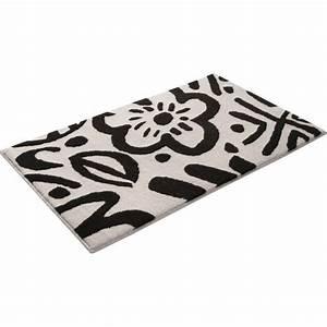 tapis de bain noir et blanc esprit cool flower 55x65 With tapis de bain noir et blanc