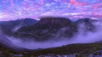 Clouds Mountains Peak Pink Background Scotland 4k