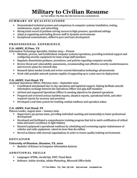 To Civilian Resume Template by To Civilian Resume Sle Tips Resume Companion
