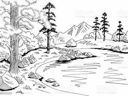 Lake Mountain Landscape Sketch Graphic Cartoon Coloring