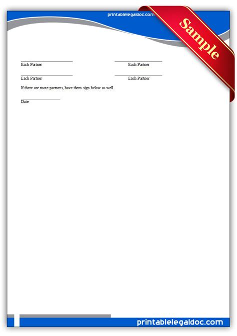printable investment club partnership agreement form