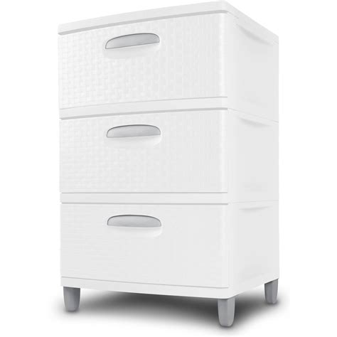 White Cabinet With Drawers by 3 Drawer Wide Storage Cabinet White Plastic Weave Set Of 2