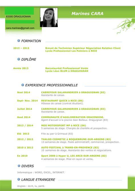 Cv Travail by Cv Type Emploi Saisonnier