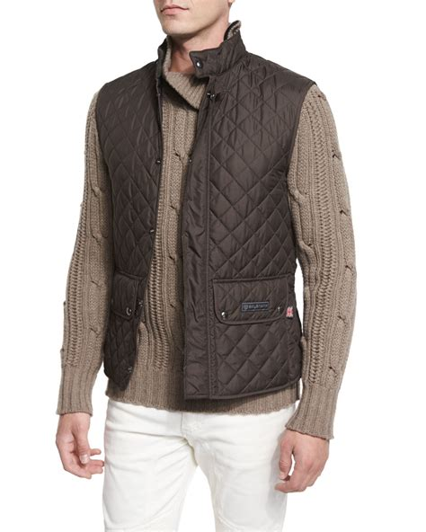 mens quilted vest belstaff lightweight quilted tech vest in multicolor for