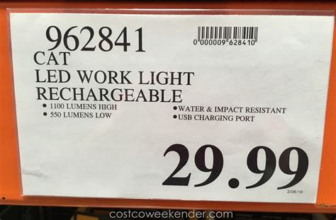 costco work light cat rechargeable led work light costco weekender