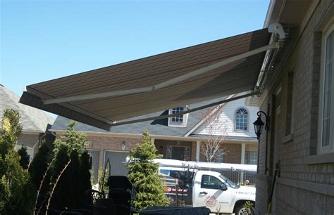 semi cassette awning installed   soffit rolltec retractable awnings toronto