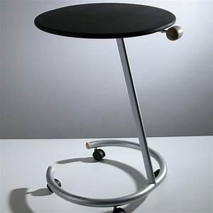 Tavolino Con Ruote Lato Divano In Acciaio E Legno Trottolo