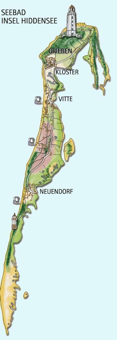 Karte der Insel Hiddensee bei Rügen, Deutschland
